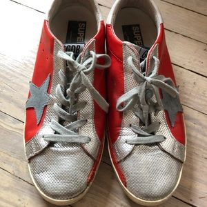 Golden Goose red Superstar sneakers size 40